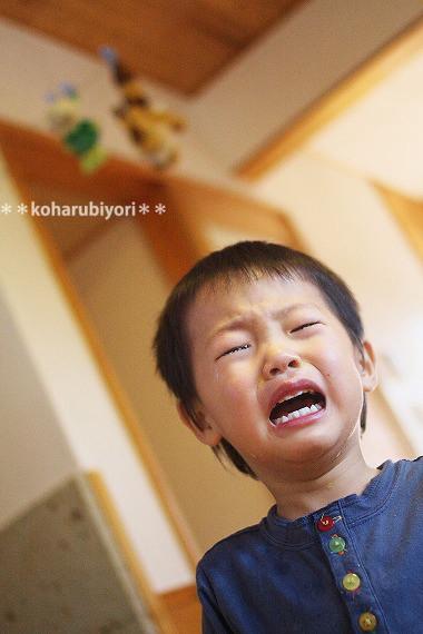 息子、泣く